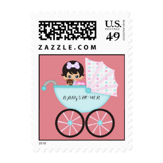 Brunette Baby Girl in Carriage Baby Shower Postage