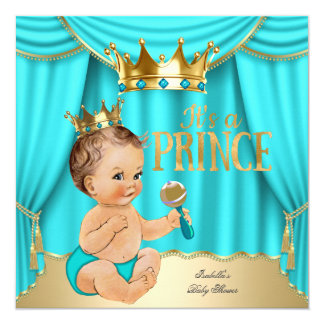 Brunette Baby Shower Prince Aqua Blue Gold Crown Card