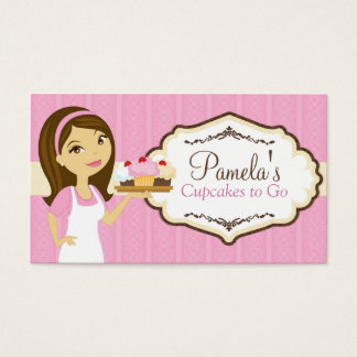 Brunette Baker Cupcake Business Cards D15