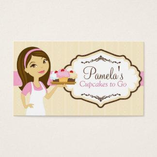 Brunette Baker Cupcake Business Cards D17