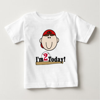 Brunette Baseball 2nd Birthday Baby T-Shirt