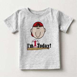 Brunette Baseball First Birthday Baby T-Shirt