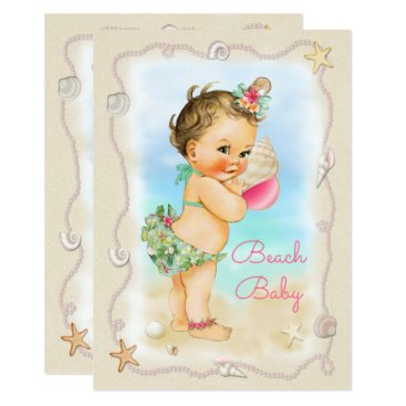 Beach Themed Brunette Beach Baby Conch Shell Baby Shower Card