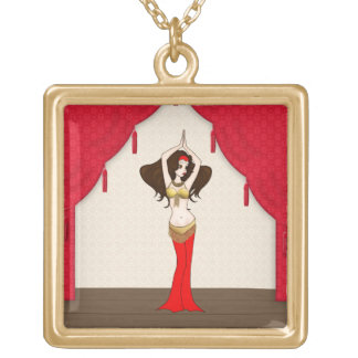 Brunette Bellydancer in Red and Gold Costume Gold Plated Necklace
