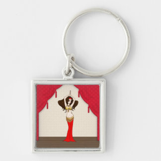 Brunette Bellydancer in Red and Gold Costume Keychain