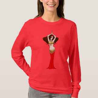 Brunette Bellydancer in Red and Gold Costume T-Shirt