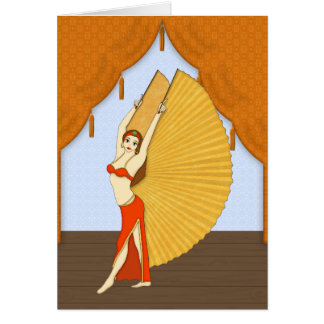 Brunette Bellydancer with Gold Isis Wings Greeting Card