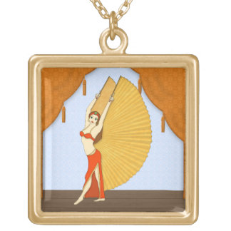 Brunette Bellydancer with Gold Isis Wings Gold Plated Necklace