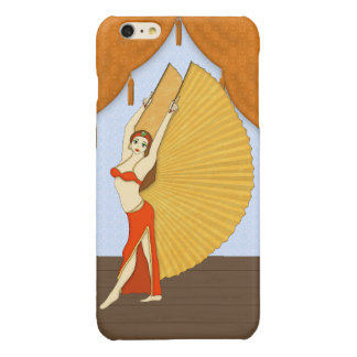 Brunette Bellydancer with Gold Isis Wings Glossy iPhone 6 Plus Case