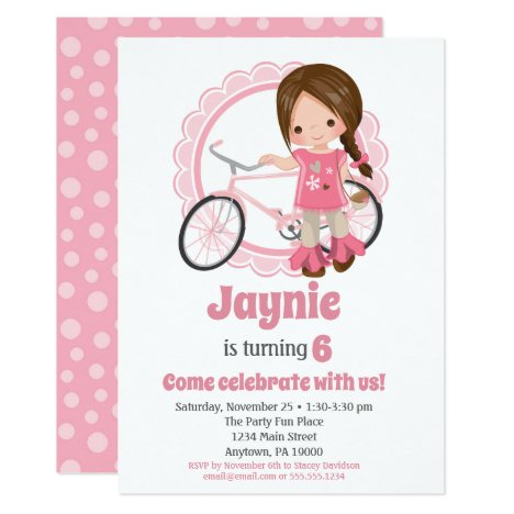 Brunette Bicycle Girl Birthday Invitation