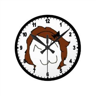 Brunette Big Smile Comic Meme Round Clock