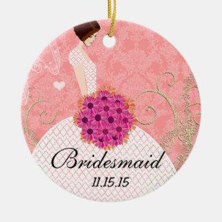 Brunette Birdesmaid Gifts You Choose Colors Ornament
