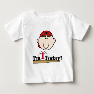 Brunette Boy Baseball 1st Birthday Tshirts