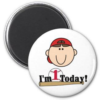 Brunette Boy Baseball 1st Birthday Tshirts 2 Inch Round Magnet