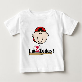 Brunette Boy Baseball 2nd Birthday Baby T-Shirt