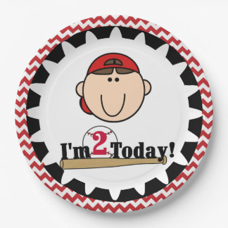 Brunette Boy Baseball 2nd Birthday Paper Plates
