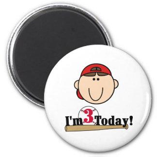 Brunette Boy Baseball 3rd Birthday Magnet