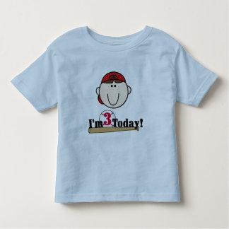 Brunette Boy Baseball 3rd Birthday Tshirts
