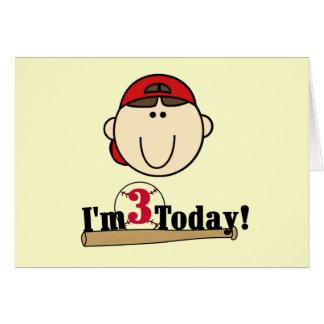 Brunette Boy Baseball 3rd Birthday Tshirts Greeting Card