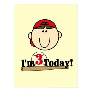 Brunette Boy Baseball 3rd Birthday Tshirts Postcard