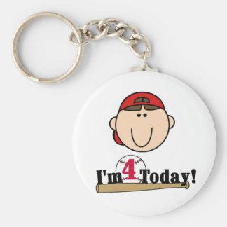 Brunette Boy Baseball 4th Birthday Basic Round Button Keychain
