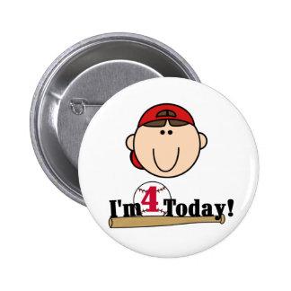 Brunette Boy Baseball 4th Birthday Pins