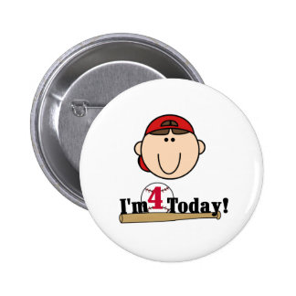 Brunette Boy Baseball 4th Birthday Button