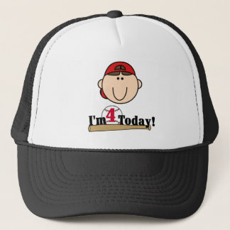 Brunette Boy Baseball 4th Birthday Trucker Hat
