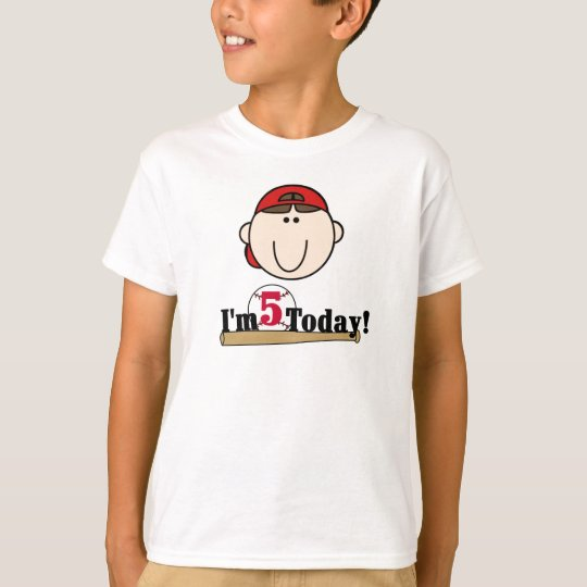 Brunette Boy Baseball 5th Birthday T-Shirt