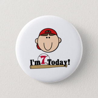 Brunette Boy Baseball 7th Birthday Pinback Button
