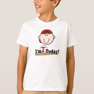 Brunette Boy Baseball 7th Birthday T-Shirt