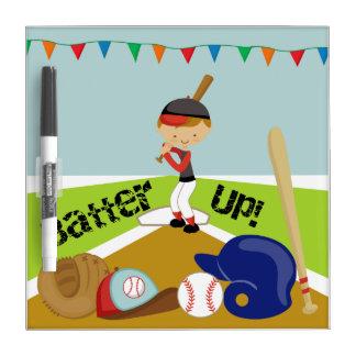 Brunette Boy Batter Up Baseball  Dry Erase Board