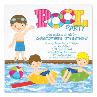 Brunette Boy Birthday Summer Pool Party Invitation