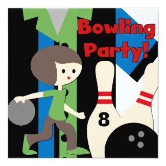 "Brunette Boy Bowling Party Invitations 5.25"" Square Invitation Card"