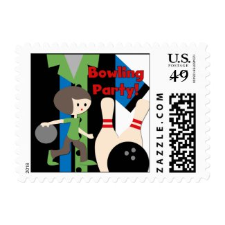 Brunette Boy Bowling Party Postage Stamps