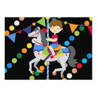 Brunette Boy Carousel Birthday 5x7 Invitation