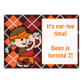 Brunette Boy Golf Birthday Party Invitation
