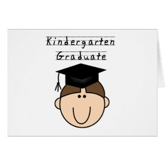 Brunette Boy Kindergarten Graduate Greeting Card