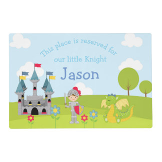 Brunette Boy Knight and Dragon Placemat
