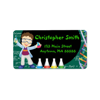 Brunette Boy Mad Scientist Party Address Labels