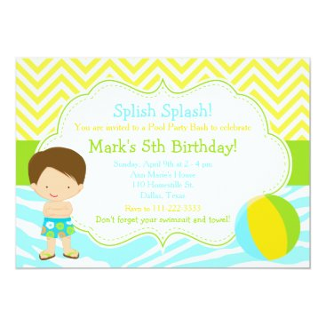 Beach Themed Brunette Boy Pool Party Bash Party Card