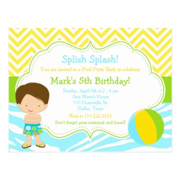 Beach Themed Brunette Boy Pool Party Bash Party Postcard