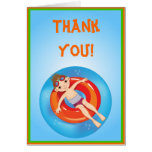Brunette Boy Pool Party Thank You Note Card