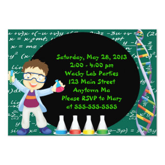Brunette Boy Scientist Birthday Party Invitation