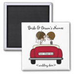 Brunette Bride and Groom in a Red Wedding Car 2 Inch Square Magnet