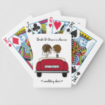 Brunette Bride and Groom in a Red Wedding Car Bicycle Playing Cards