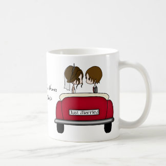 Brunette Bride and Groom in a Red Wedding Car Coffee Mug