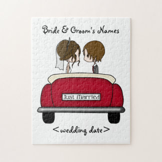 Brunette Bride and Groom in a Red Wedding Car Jigsaw Puzzle