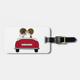 Brunette Bride and Groom in a Red Wedding Car Luggage Tags