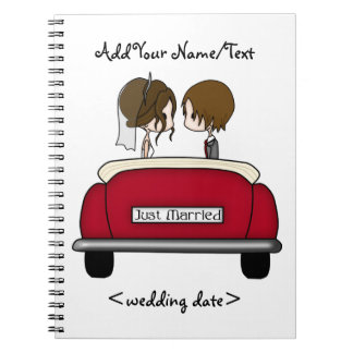 Brunette Bride and Groom in a Red Wedding Car Spiral Note Books